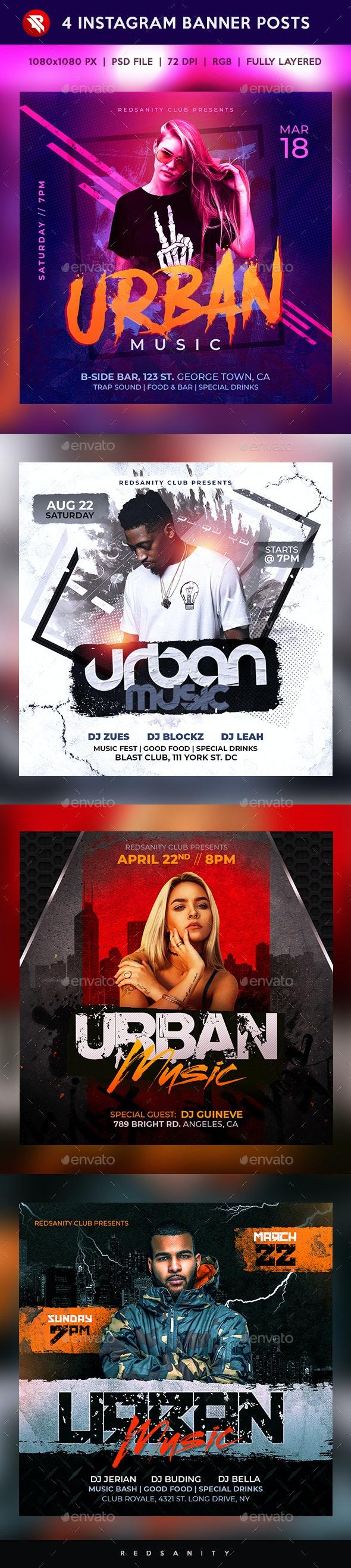 Urban Music Instagram Banner Posts - Social Media Web Elements