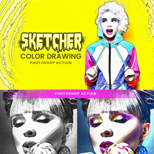 Sketcher Color Drawing Photoshop Action
