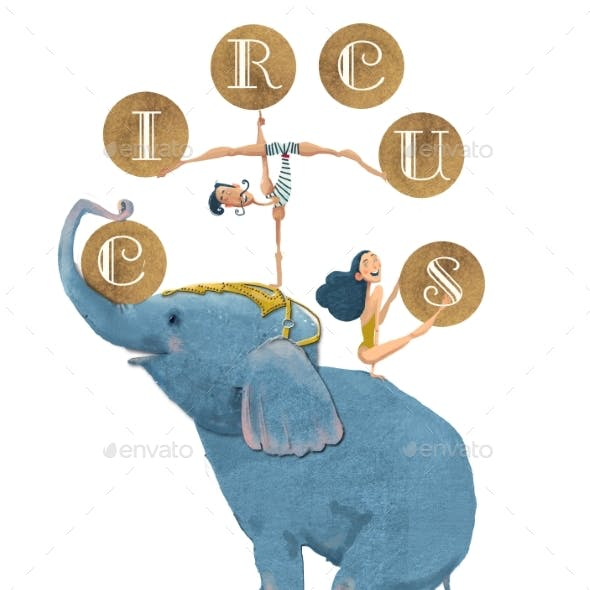 Cute Circus Elephant with Gymnasts