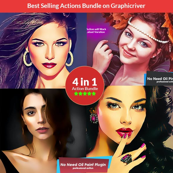 Painting Action Bundle - 4in1 Photoshop Actions