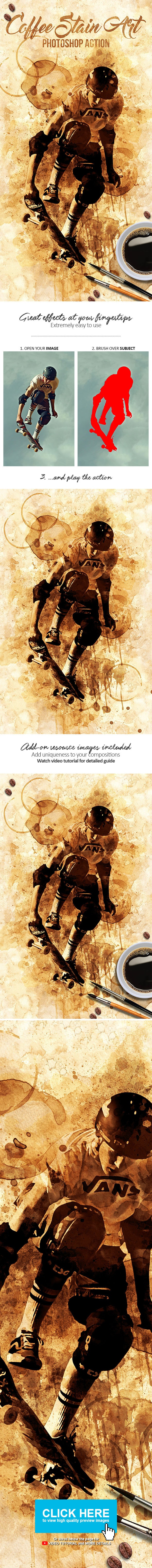 Coffee Stain Art Photoshop Action - Photo Effects Actions