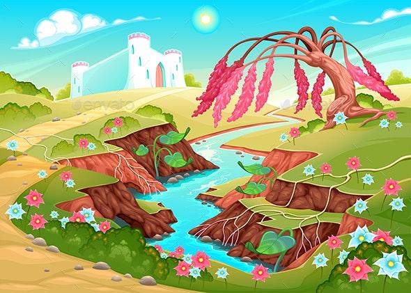 Fantasy Landscape with River, Tree and Castle - Landscapes Nature