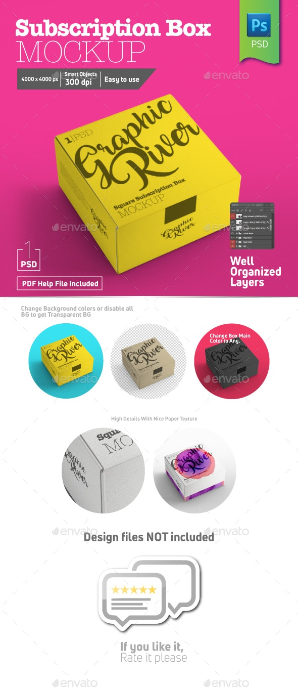 Square Closed Subscription Box Half Side View - Product Mock-Ups Graphics