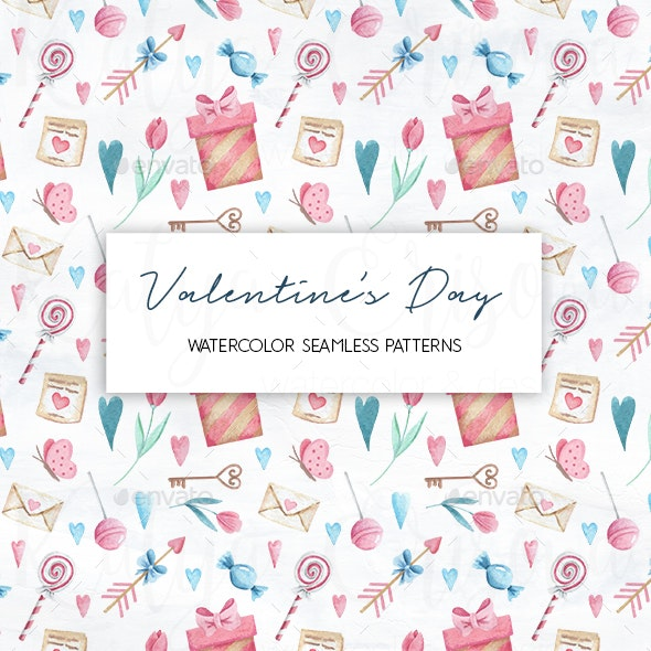 Valentine's Day Watercolor Seamless Pattern - Patterns Backgrounds