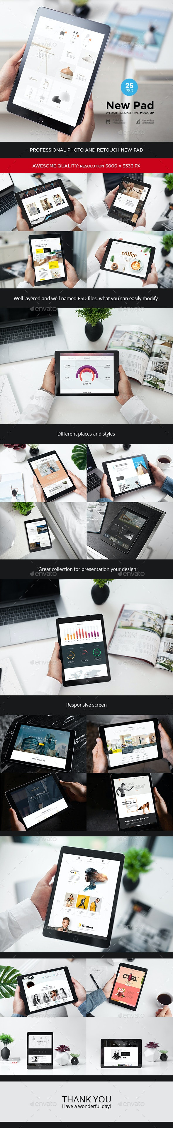 New Pad Responsive Mock-Up - Displays Product Mock-Ups
