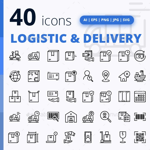 Set of Logistic & Delivery - Business Icons