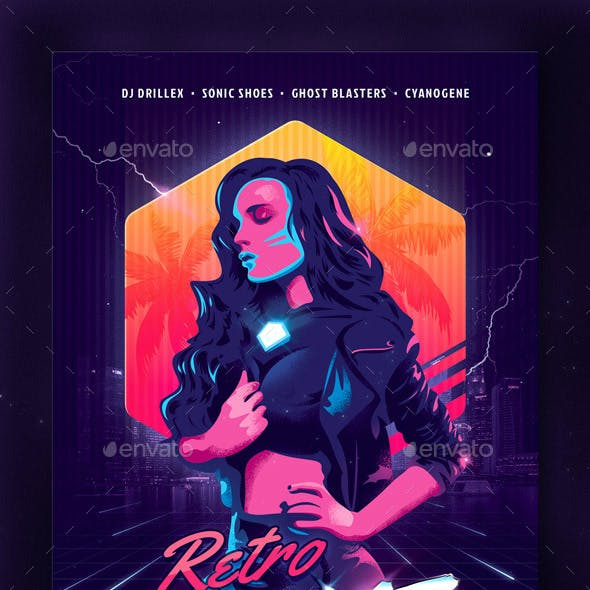 New Retro Wave Party Flyer Template