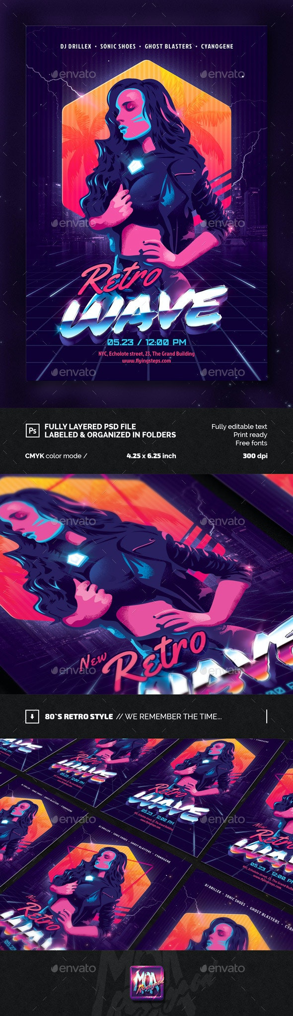 New Retro Wave Party Flyer Template - Clubs & Parties Events