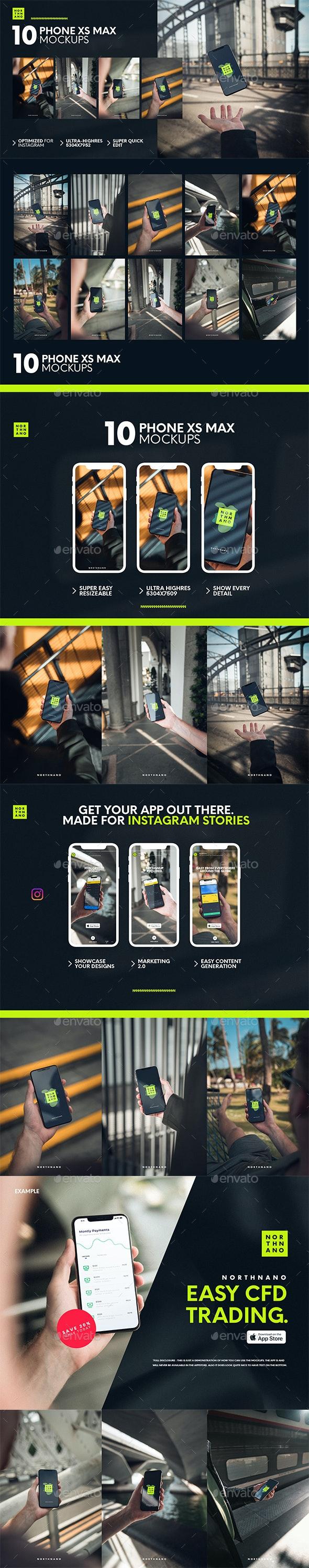 10 Phone XS MAX Mockups for Insta - Mobile Displays