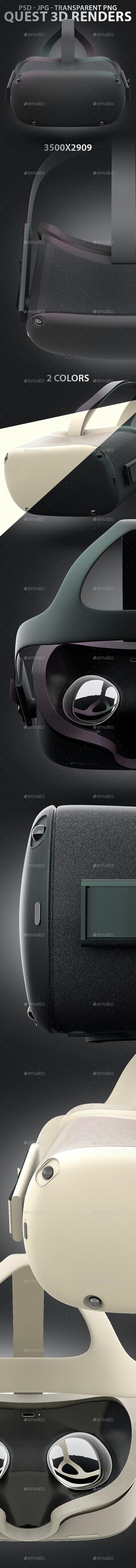Quest Headset 3D Renders in 2 Colors - Technology 3D Renders