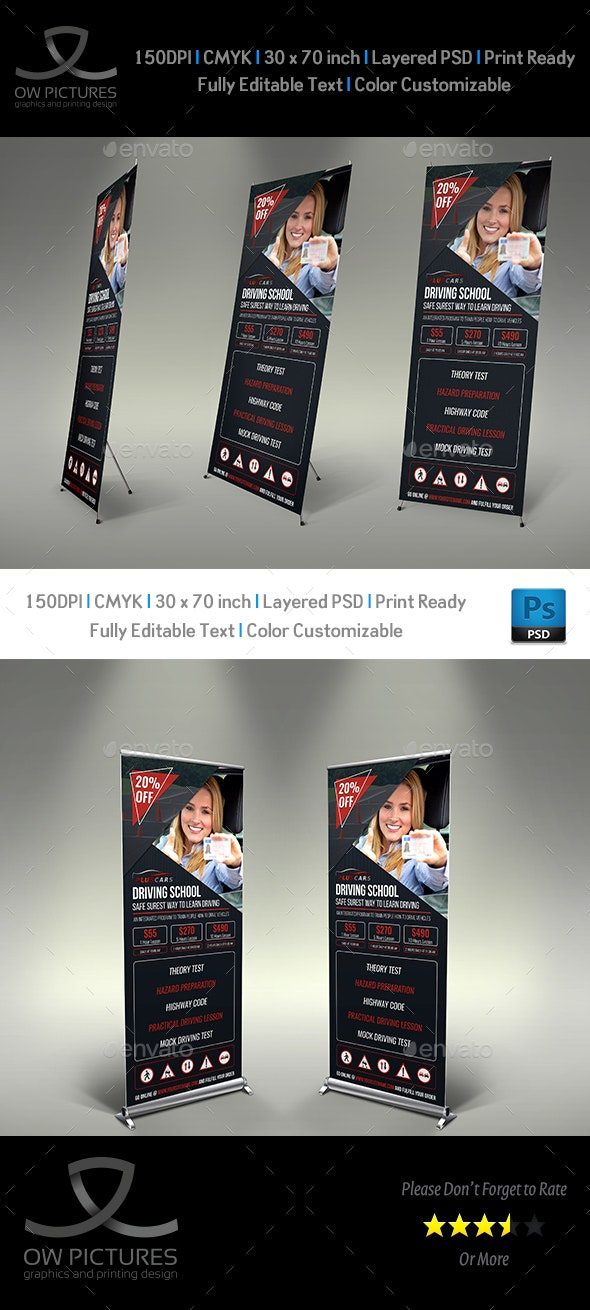 Driving School Signage Roll Up Banner Template Vol.2 - Signage Print Templates