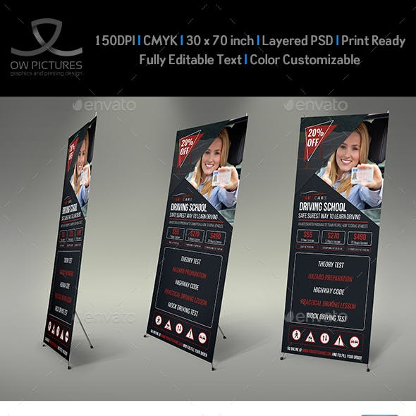 Driving School Signage Roll Up Banner Template Vol.2