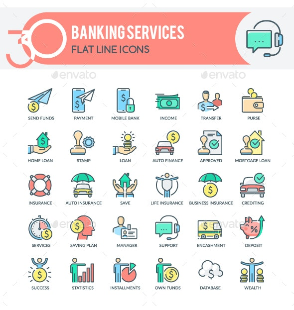 Banking Services Icons - Business Icons