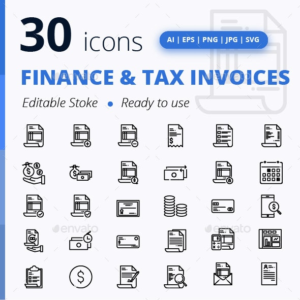 Set of Finance & Tax Invoices - Business Icons