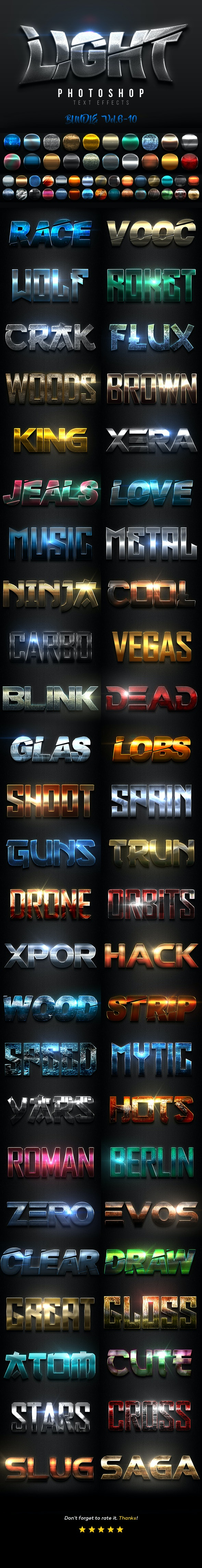 Light Text Effects Bundle II - Text Effects Actions