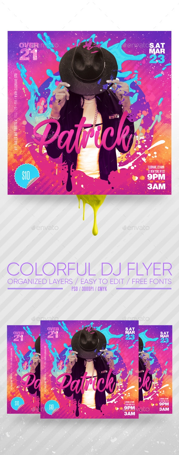 Colorful DJ Flyer - Clubs & Parties Events