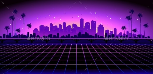 Retro Wave Synth - Buildings Objects