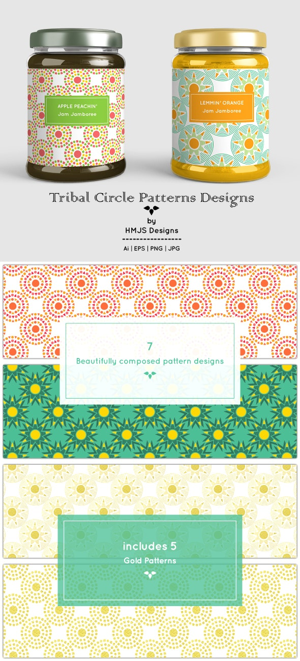 Tribal Circle Pattern Designs - Textures / Fills / Patterns Illustrator