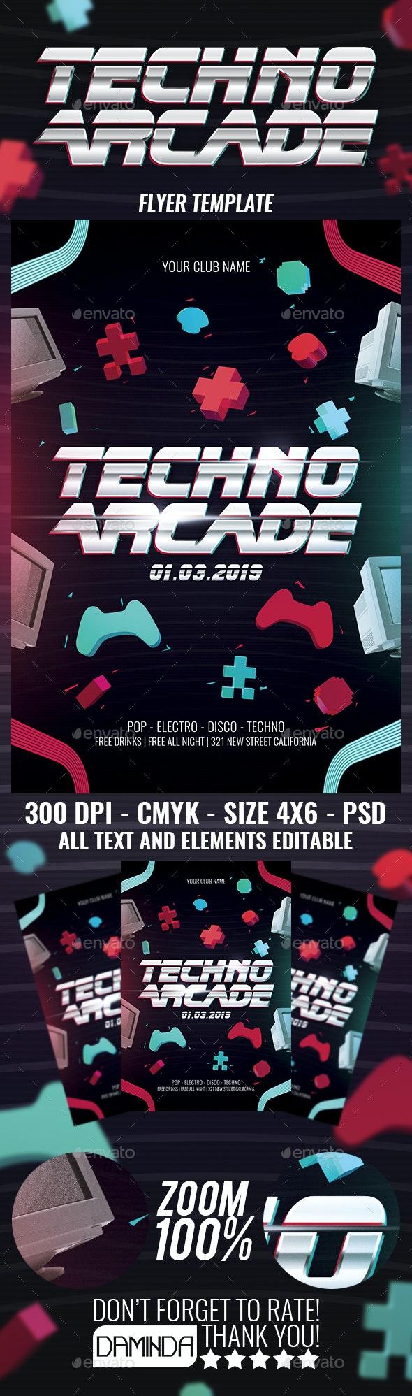 Techno Arcade New 2 - Events Flyers