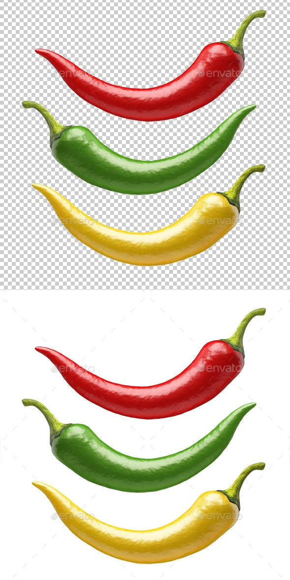 Chilli Peppers - Objects 3D Renders