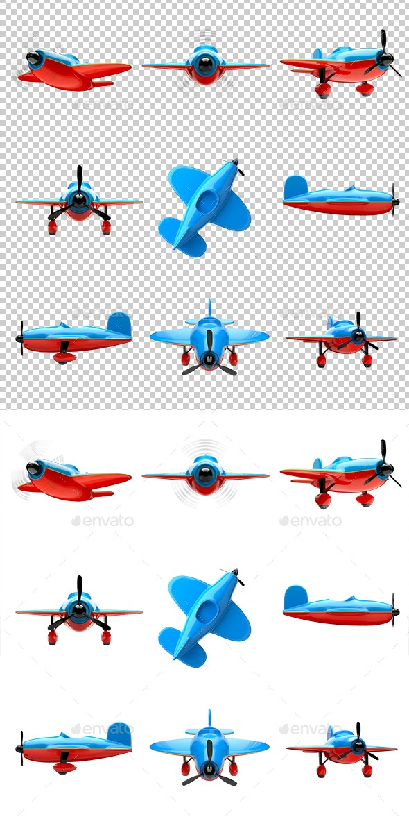 Airplanes Set - Objects 3D Renders