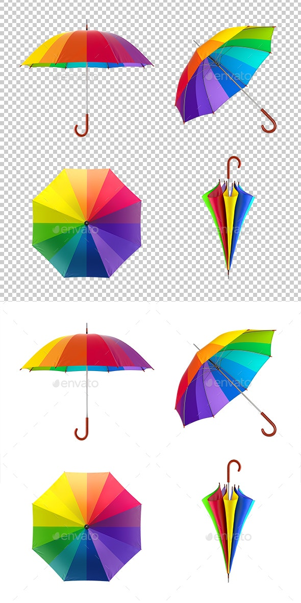 Colorful Rainbow Umbrellas Set - Objects 3D Renders