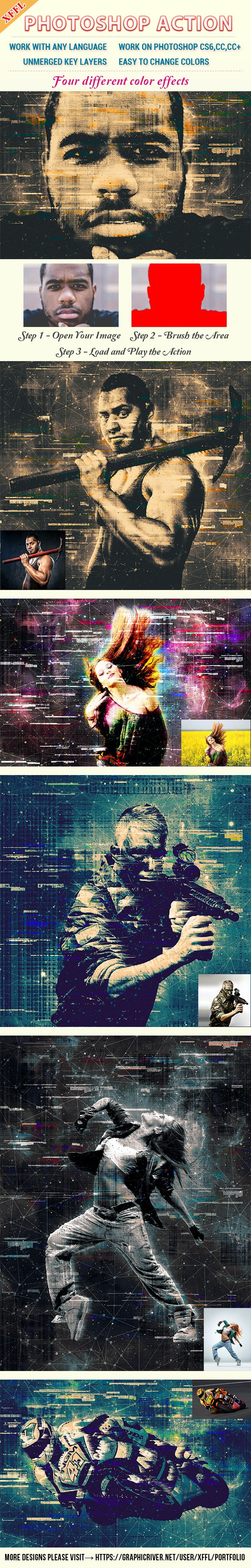 Glitch Mottled Effect Photoshop Action - Photo Effects Actions