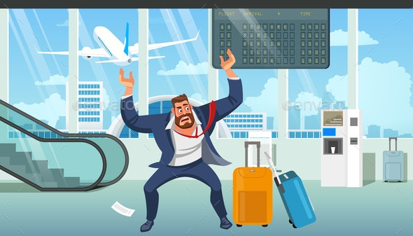 Businessman Late on Airplane Cartoon Vector - People Characters