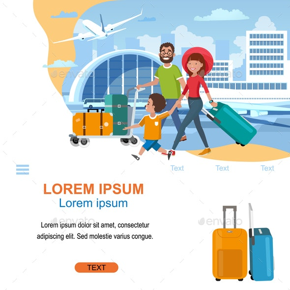 Airline Company Cartoon Vector Website Template - Business Conceptual