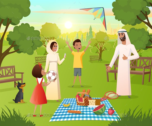 Happy Muslim Family on Picnic In City Park Vector - People Characters