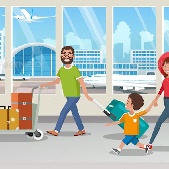 Happy Family Carrying Luggage in Airport Vector