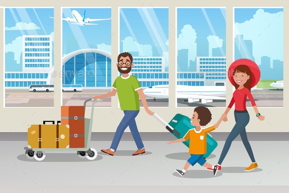 Happy Family Carrying Luggage in Airport Vector - People Characters