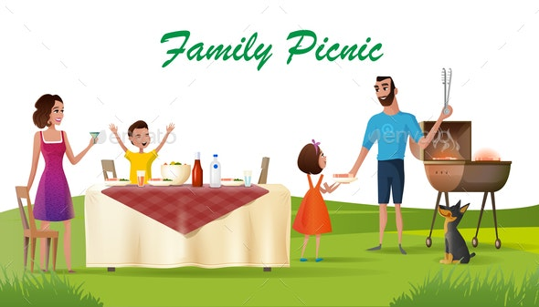 Happy Family Picnic on Green Loan Cartoon Vector - People Characters
