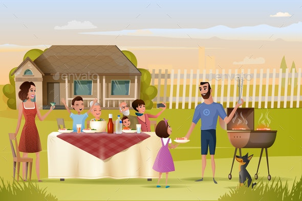 Big Family Holiday Dinner or Picnic Cartoon Vector - People Characters