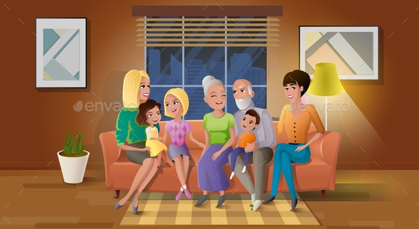 Senior Couple Spending Time with Children Vector - People Characters