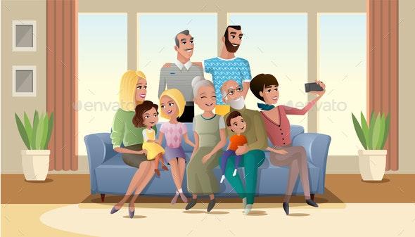 Selfie Photo of Big Happy Family Cartoon Vector - People Characters