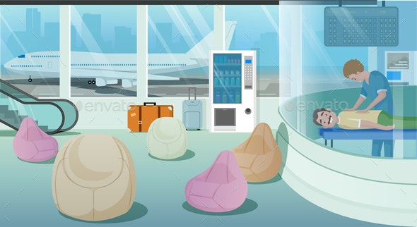 Airport Waiting Room Services Cartoon Vector - Business Conceptual