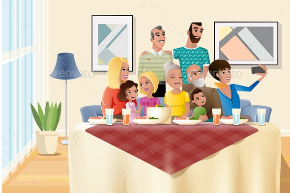 Big Family Holiday Dinner at Home Cartoon Vector - People Characters