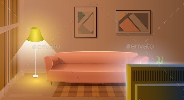 Modern Living Room With Working Tv Cartoon Vector By Teravector Graphicriver