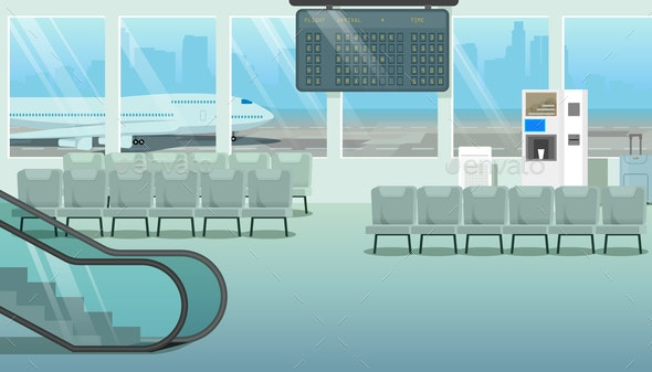 Modern Hall or Airport Waiting Room Cartoon Vector - Buildings Objects