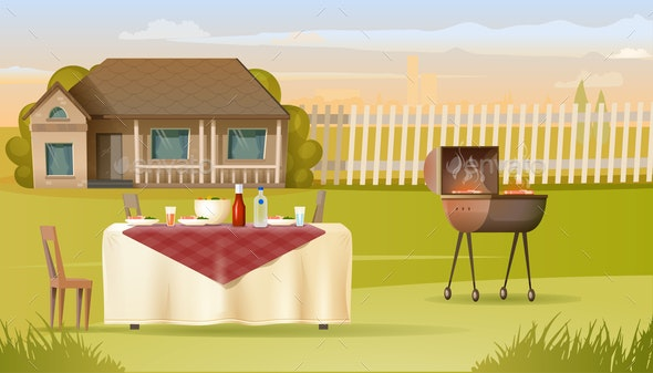 Family Barbeque on Country House Yard Vector - Food Objects