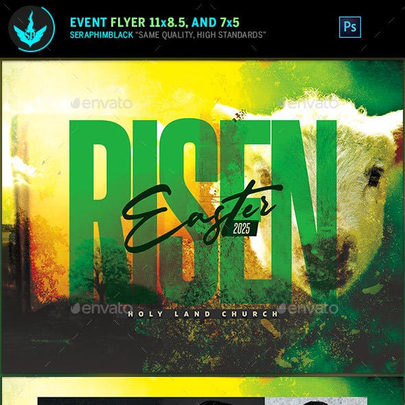 Risen Easter Sunday Church Flyer Template
