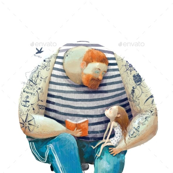 Red Haired Man with a Little Girl and Book