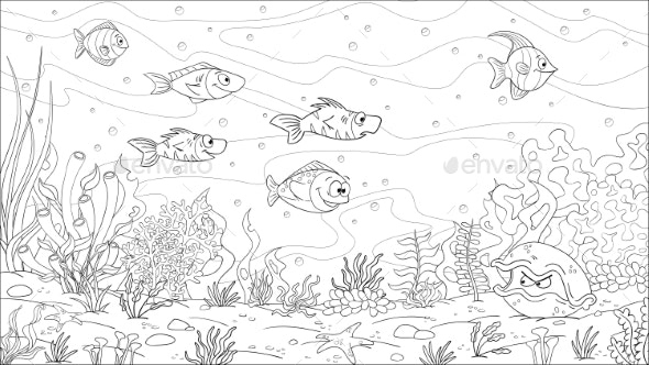 Coloring Book Underwater Landscape - Animals Characters
