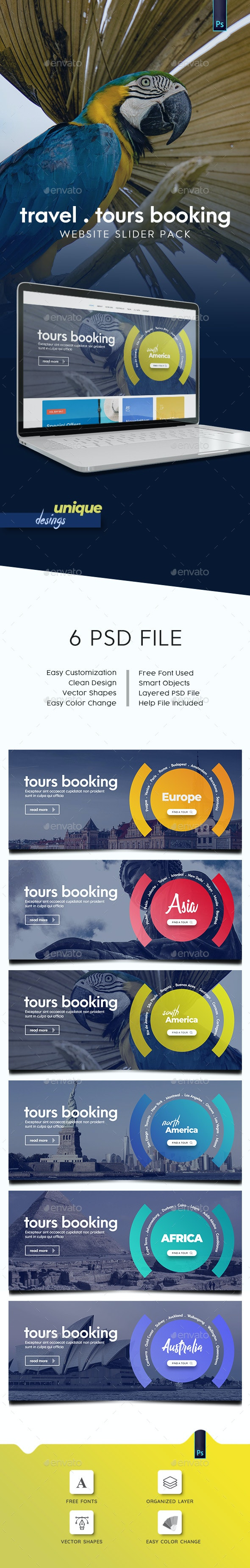 Travel - Tours Booking Slider Pack - Sliders & Features Web Elements