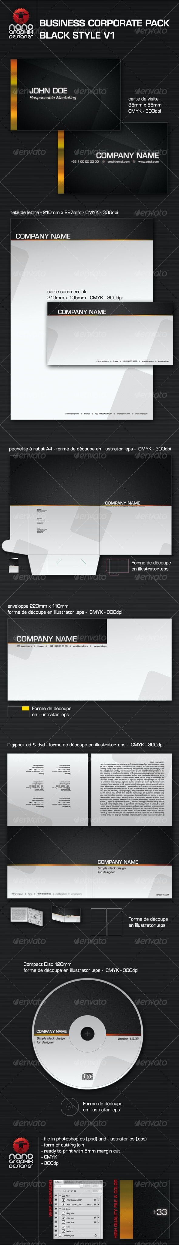 business corporate pack black style v1 - Corporate Business Cards
