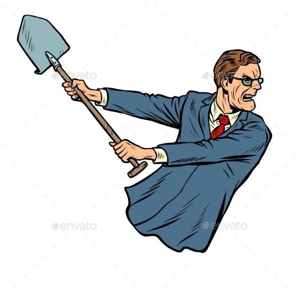 Businessman with a Shovel - Concepts Business
