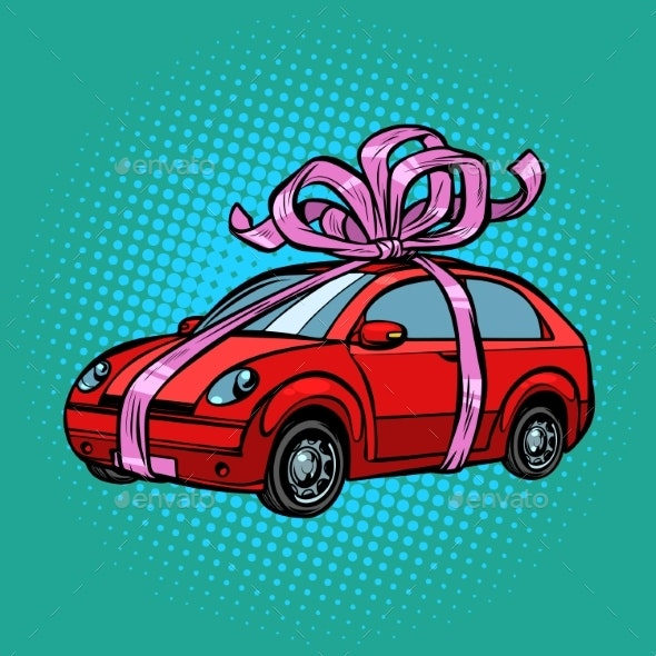 Car Gift Transport Tied with Festive Ribbons - Man-made Objects Objects