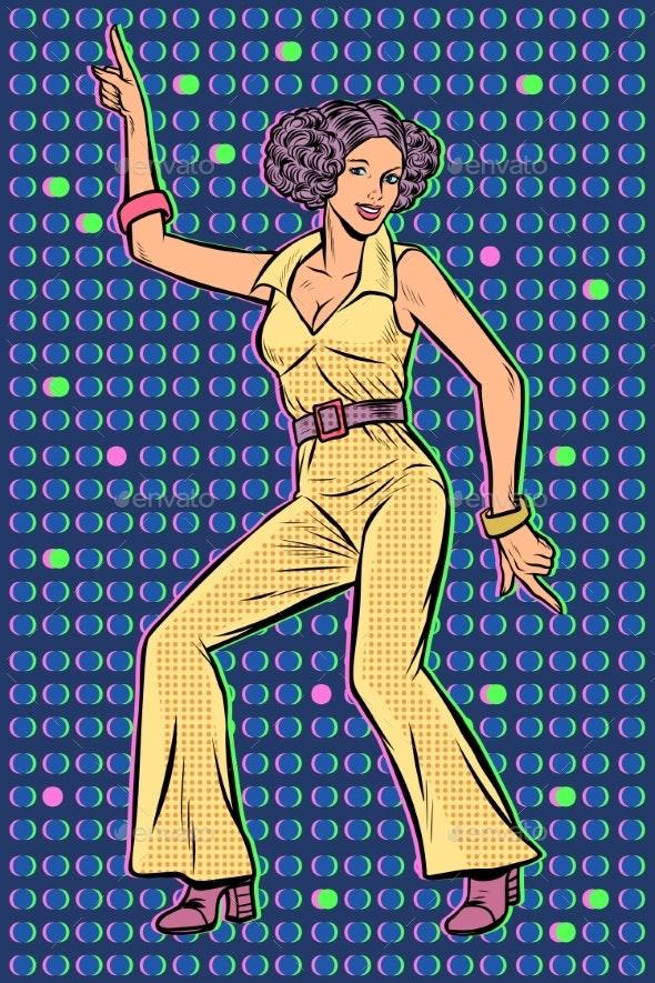Girl in Pantsuit Disco Dancing - People Characters