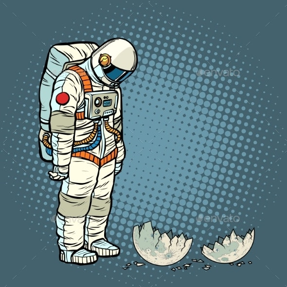 Guilty Astronaut Looks at the Ruined Moon - Miscellaneous Vectors
